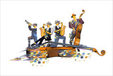 Abstract colorful Musicians at the party. Jazz band. Hand drawn vector illustration.