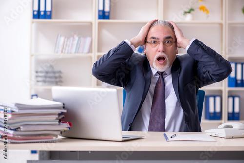 Leinwandbild Motiv White bearded old businessman employee unhappy with excessive wo