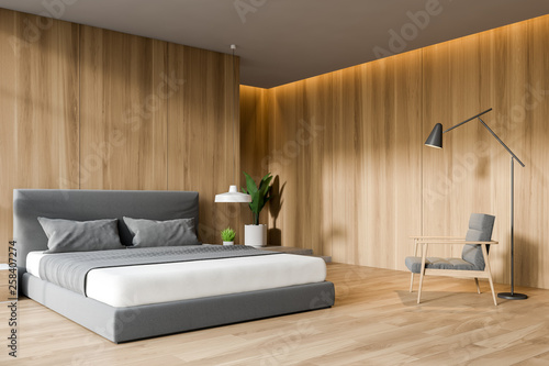 wooden bedroom interior. © denisismagilov