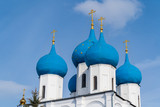Blue domes of the Russian Orthodox Church in the Vysotsky monastery, Serpukhov city,Moscow region.