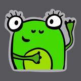 Zielona żaba ręka rysująca majcher ilustracja w ślicznym stylu