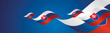 Slovakia Independence Day waving flags two fold blue landscape background