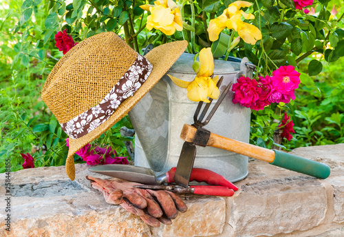 Stil life gardening concept with the tools for gardening with flowers in background. © warren_price