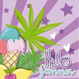 Hello summer card with cute cartoons