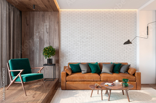 Modern living room interior with brick wall blank wall, sofa, lounge chair, table, wooden wall and floor, plants, carpet, hidden lighting. 3d render illustration mockup. - 258470677