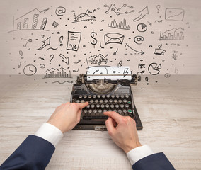 Typewriter with doodles, idea, message, plane, car balloon social media concept