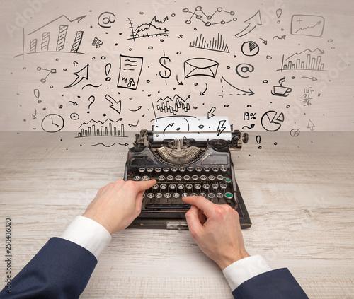 Typewriter with doodles, idea, message, plane, car balloon social media concept © ra2 studio