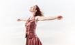 Leinwandbild Motiv Concept of freedom and happiness with girl enjoying this life