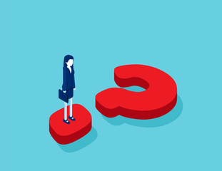 Isometric businesswoman standing on question mark. Concept business isometric vector illustration, Question mark, Confusion.