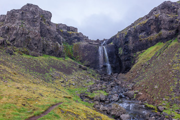 Unnamed waterfall next to national road number 1 called Ring Road in Iceland