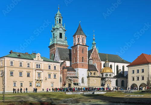 Krakow, Poland. Wawel Cathedral or The Royal Archcathedral Basilica of Saints Stanislaus and Wenceslaus on Wawel Hill.