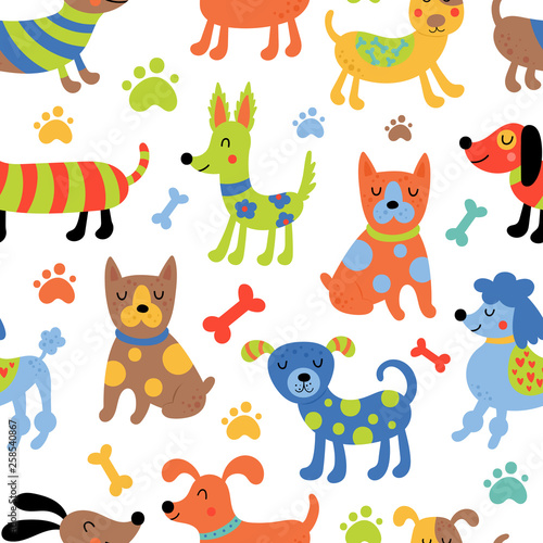 fototapeta na ścianę Seamless pattern with cute dogs.