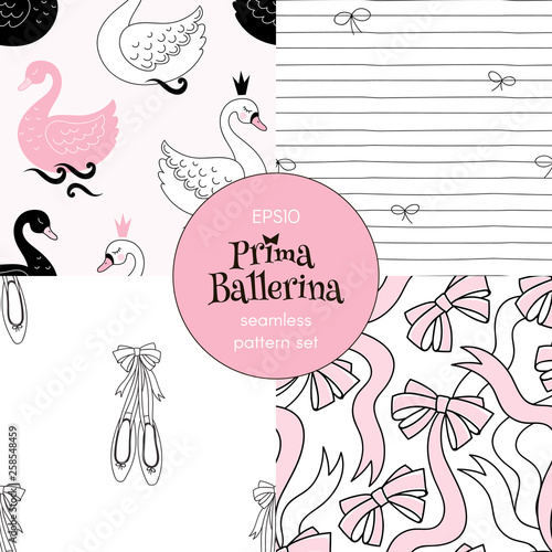 Ballet Swans Ribbon Bows Pointe Shoes Doodle Stripes pattern collection. Ballet themed seamless backgrounds set. Perfect for girlish design, scrapbook paper, childish fashion fabric textile print.
