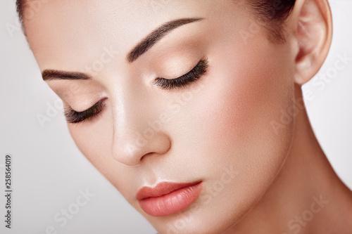 Beautiful Woman with Extreme Long False Eyelashes. Eyelash Extensions. Makeup, Cosmetics. Beauty, Skincare © Oleg Gekman