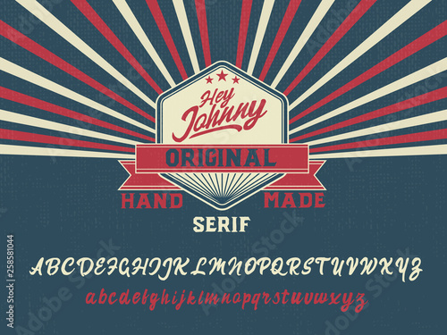Hey Johnny. New serif handmade font in hipster style and very colorful. Pop art. American style 50th.  © Алексей Руденко