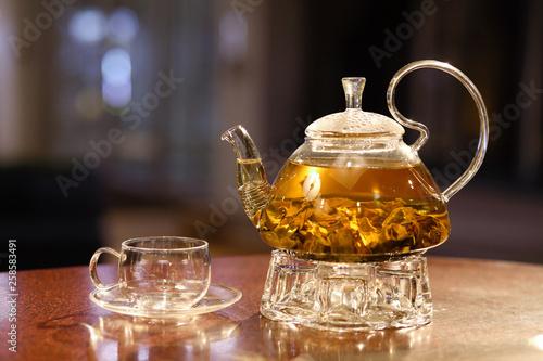 teapot with green tea © podgorba