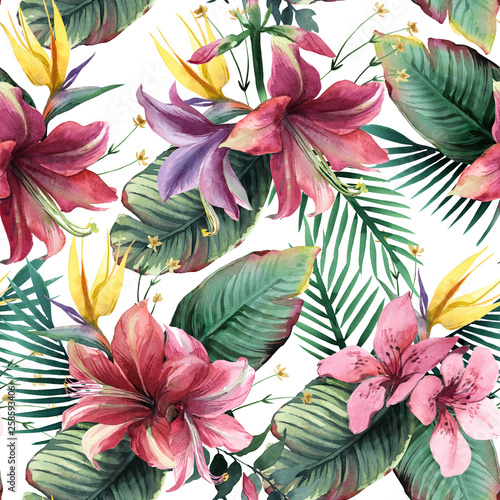 Watercolor seamless pattern of tropical flowers and leaves on white background © Kateryna
