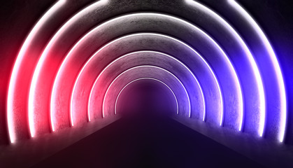 Abstract arch, tunnel, neon light, rays. 3d render