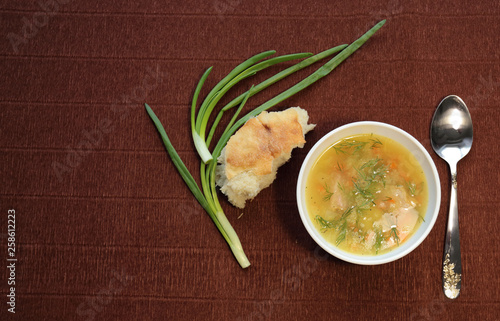 delicious, fresh pea soup with dill and green onions. for lovers of homemade food, pea soup.