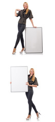 Young beautiful woman with whiteboard isolated on white  © Elnur