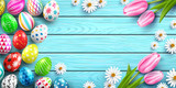 Happy Easter background template with colorful Easter Eggs and flower on wood table background.Handwriting inscription Easter Day.Promotion and shopping template for Easter Day.Vector EPS10