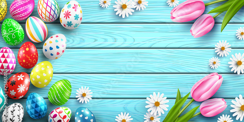Happy Easter background template with colorful Easter Eggs and flower on wood table background.Handwriting inscription Easter Day.Promotion and shopping template for Easter Day.Vector EPS10 - 258658457