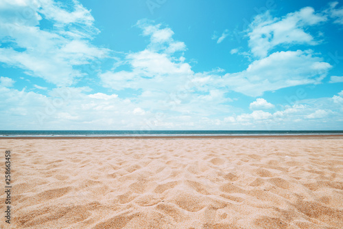 Seascape of beautiful tropical beach with calm sky. sea view and sand beach, summer background. - 258663458