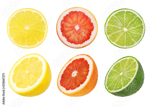 Leinwanddruck Bild Collage of fresh citrus isolated on white background with clipping path