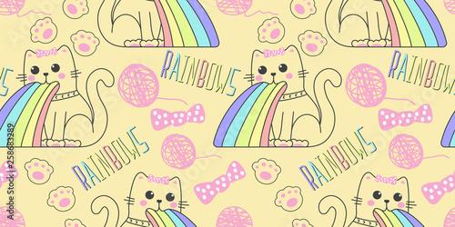 fototapeta na ścianę seamless pattern with cute cat in kawaii style puking rainbow