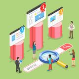 Flat isometric vector concept of seo ranking, website optimization marketing, web analytics, search engine.