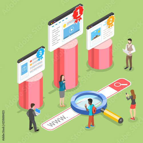 Flat isometric vector concept of seo ranking, website optimization marketing, web analytics, search engine. © nanuvision