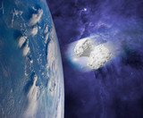 Fototapeta Fototapety kosmos - asteroid comet or meteor coming to the earth.  elements of this images furnished by nasa © Mihail