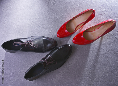 canvas print picture Composition with two pairs of shoes