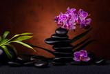 Spa, koncepcja. kompozycja z bambusa, kwiatów orchidei i czarnych kamieni