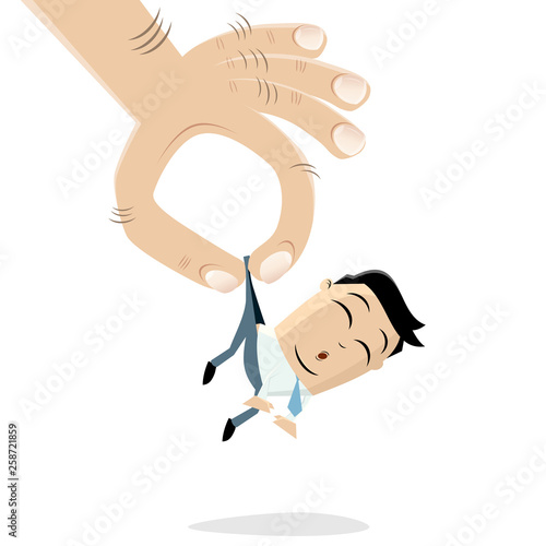 funny asian businessman picked up by a giant hand