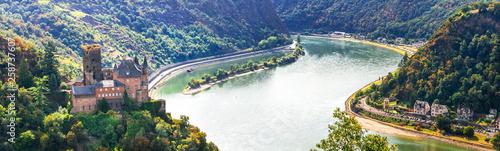 Leinwanddruck Bild Magnificent Rhine valley with romantic medieval castles. Katz castle in st Goarshhausen . Germany
