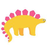 Fototapeta Dinusie - Yellow dinosaur flat illustration on white © lkeskinen