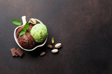 Ice cream with chocolate and nuts