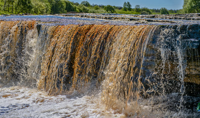 Tosno waterfall, the largest waterfall in Europe — about 30 meters wide and more than 2 meters high.