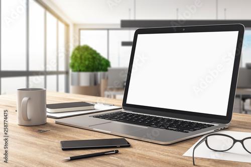 Leinwandbild Motiv Empty white laptop