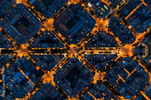 Barcelona street night aerial View