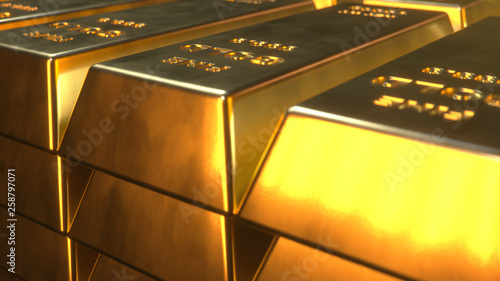 Leinwandbild Motiv Stack Close-up Gold Bars, weight of Gold Bars 1000 grams Concept of wealth and reserve. Concept of success in business and finance. 3D illustration