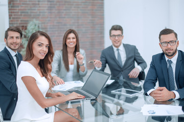 professional business team sitting at the office Desk
