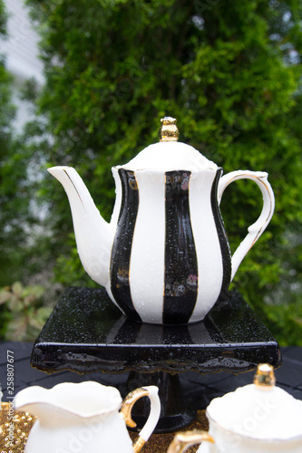 Gorgeous black and white and gold tea pot at a party © Shalese