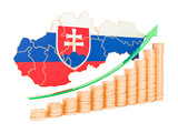 Economic growth in Slovakia concept, 3D rendering
