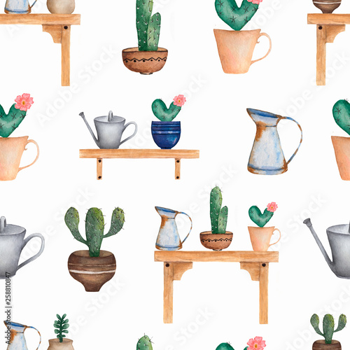 Watercolor seamless Cacti flower pattern.Hand-drawn background with cactus , succulents, watering can. Green house plants in the  pots on the wooden table and wooden bench. © mayillustration