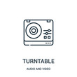 turntable icon vector from audio and video collection. Thin line turntable outline icon vector illustration.