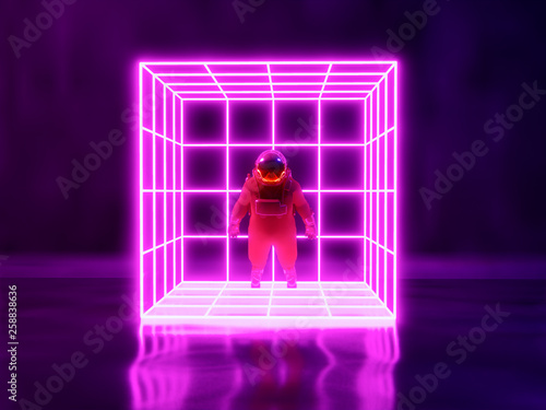 astronaut  and neon light background , 3d render © patpongstock