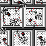 Modern seamless patern scarf polka dots mixed with tropical monstera leaves and exotic hibiscus flowers in the square shape vector design for fashion ,fabric,web,wallpaper and all prints