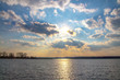 canvas print picture - Sonnenuntergang am Teterower See